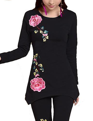 Damen Blumen Übergrössen T-shirt Lose / Herbst / Stickerei