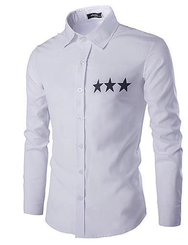 Bomull Hvit / Sort Medium Langermet,Skjortekrage Skjorte Ensfarget Vår / Høst Enkel Fritid/hverdag Herre