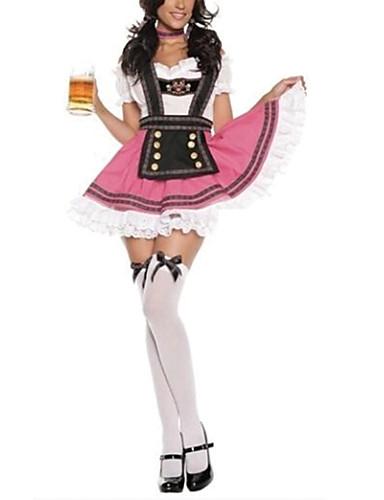 hesapli Oktoberfest-Kasım Festivali üstü dar altı geniş elbise Trachtenkleider Kadın's Kravat Elbise Bavyera Kostüm Pembe