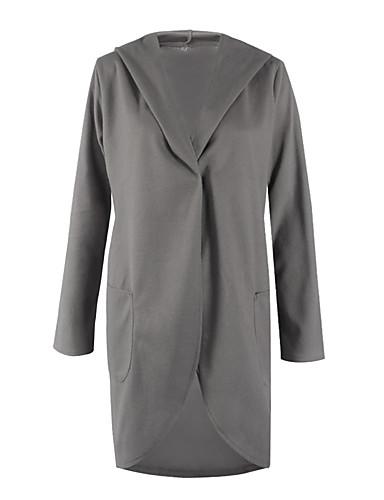 女性 春 / 秋 ソリッド コート,シンプル フード付き ピンク / ブラック / グレイ ポリエステル 長袖 ミディアム
