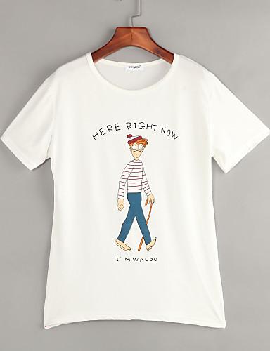 Tee-shirt Femme,Imprimé Décontracté / Quotidien simple Eté Manches Courtes Col Arrondi Coton Polyester Fin
