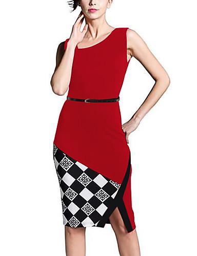 abordables Robes Femme-Femme Asymétrique Sortie Travail Chic de Rue Mi-long Trapèze Robe Bloc de Couleur Jaune Rouge Bleu L XL XXL Coton Sans Manches