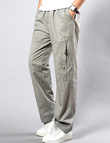abordables Pantalones Cargo-Hombre Tejido Oriental Tallas Grandes Algodón Corte Ancho / Pantalones de Deporte / Pantalones tipo cargo Pantalones - Un Color Amarillo / Primavera / Otoño / Fin de semana