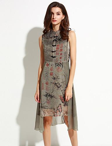 Damen Hülle Kleid-Lässig/Alltäglich Retro Druck Ständer Asymmetrisch Ärmellos Seide Sommer Mittlere Hüfthöhe Unelastisch