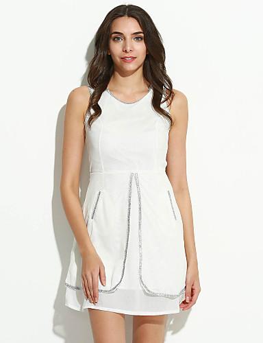 Damen A-Linie Kleid Solide Knielang