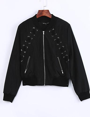 Feminino Jacket Bomber Casual Moda de Rua Outono Inverno Curto Algodão Decote Redondo Retalhos