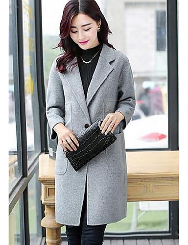 女性 カジュアル/普段着 ソリッド コート,ヴィンテージ ピンク / グレイ コットン 長袖