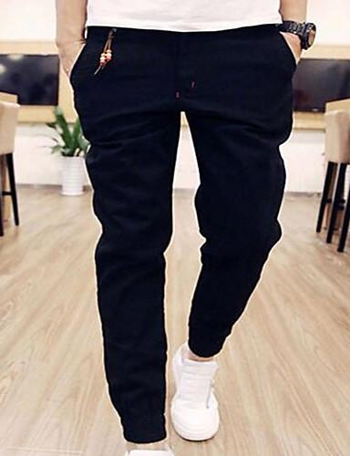 cheap Men's Pants & Shorts-Men's Basic Cotton Sweatpants Pants - Solid Colored Black / Weekend