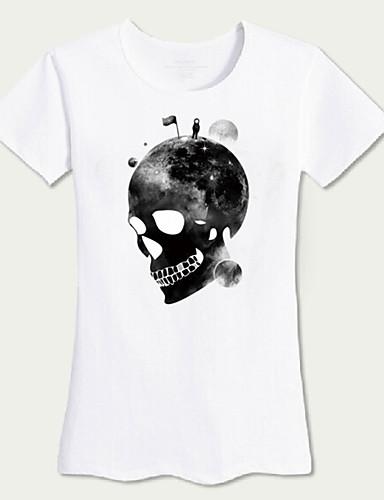 レディース お出かけ ビーチ 夏 Tシャツ,シンプル 活発的 ラウンドネック ソリッド プリント コットン 半袖 ミディアム