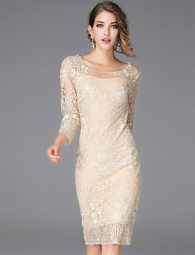 Women's Embroidery Casual / Daily Simple Lace Dress ...
