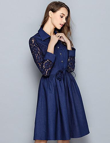Damen A-Linie Kleid-Ausgehen Niedlich Street Schick Solide Hemdkragen Übers Knie Langarm Blau Baumwolle Polyester Frühling HerbstMittlere