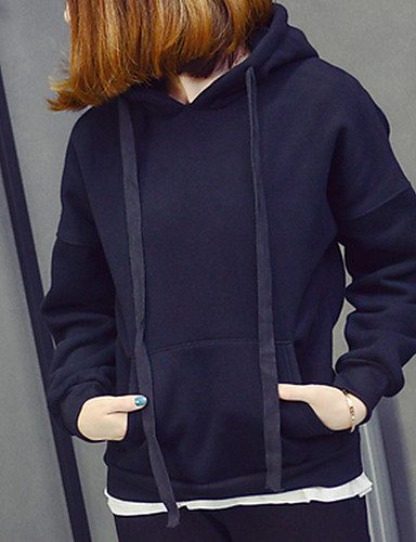 Damen Kapuzenshirt Lässig/Alltäglich Solide Rundhalsausschnitt Mikro-elastisch Baumwolle Lange Ärmel Herbst Winter