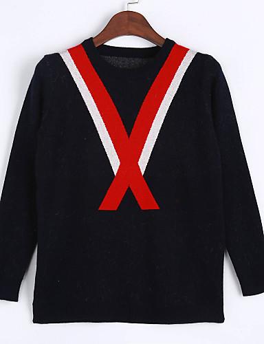 Dame Farveblok Vintage Pullover I-byen-tøj Langærmet, Rund hals Forår Efterår Bomuld