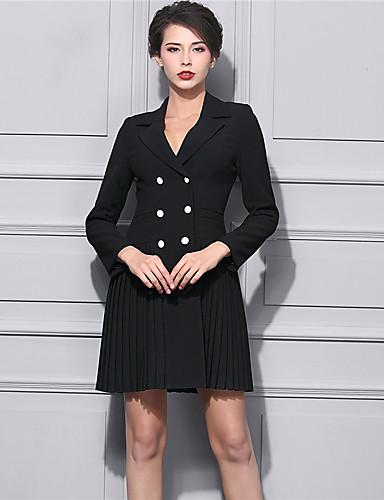 Damen Lose Kleid-Lässig/Alltäglich Street Schick Solide V-Ausschnitt Übers Knie Langarm Schwarz Kunstseide Winter Hohe Hüfthöhe
