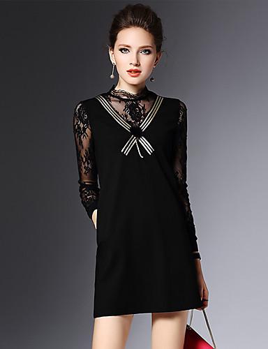 スリム2016冬の新しい女性のセクシーなレースのステッチ女性は細い黒のドレスでした