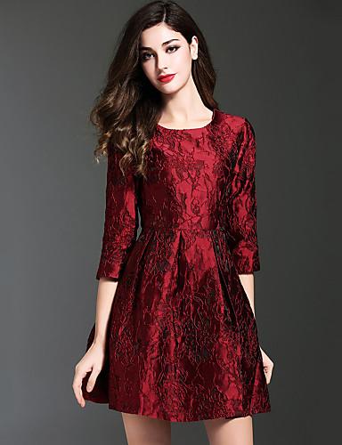 Damen A-Linie Kleid-Lässig/Alltäglich Retro Jacquard Rundhalsausschnitt Übers Knie ¾-Arm Rot Polyester Herbst Winter Mittlere Hüfthöhe