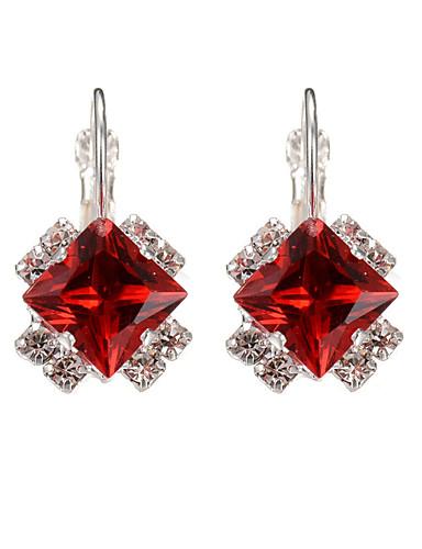 c134b9a2c Women's Girls' Sapphire Crystal Synthetic Diamond Solitaire Emerald Cut  Drop Earrings Hoop Earrings Crystal Silver Plated Earrings Flower Ladies  Fashion ...