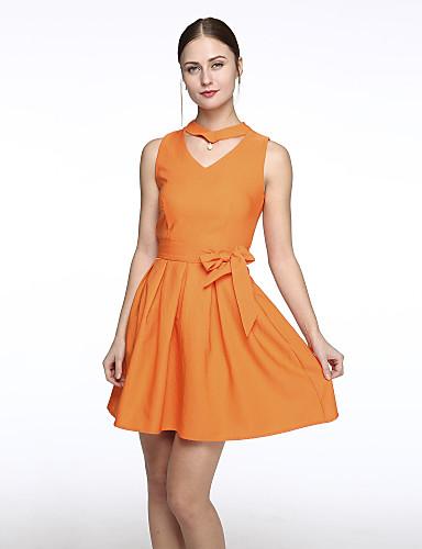 Damen Hülle Kleid-Ausgehen / Übergröße Sexy Solide V-Ausschnitt Übers Knie Ärmellos Grün / Orange / Lila Polyester Sommer