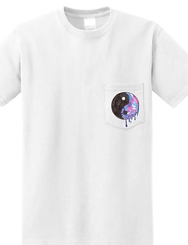 Damen Druck Einfach Lässig/Alltäglich T-shirt,Rundhalsausschnitt Frühling Kurzarm Baumwolle