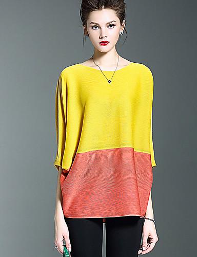 Damen Einfarbig Einfach Lässig/Alltäglich T-shirt,Rundhalsausschnitt Herbst Polyester