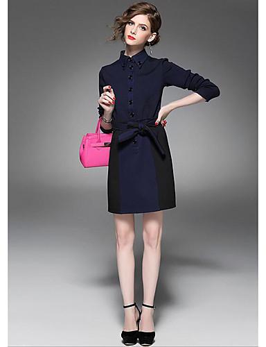 Damen Tunika Kleid-Lässig/Alltäglich Einfach Solide Asymmetrisch Übers Knie Langarm Blau Baumwolle Herbst Mittlere Hüfthöhe Unelastisch