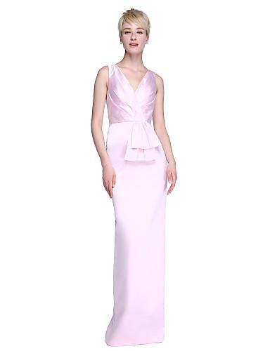 Eng anliegend V-Ausschnitt Boden-Länge Satin Brautjungfernkleid mit Schleife(n) Plissee durch LAN TING BRIDE®