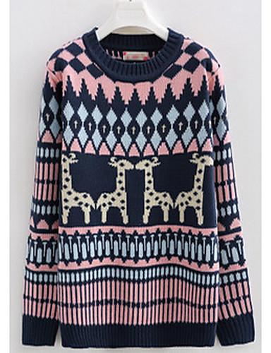 Damen Kurz Pullover-Lässig/Alltäglich Einfach Tierfell-Druck Rundhalsausschnitt Langarm Wolle Winter Mittel Mikro-elastisch