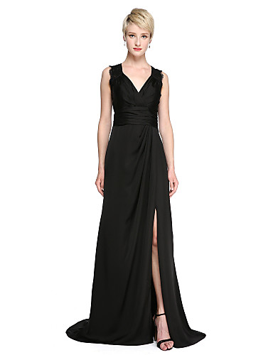 Sheath / Column V Neck Sweep / Brush Train Lace / Satin Chiffon See Through Cocktail Party / Formal Evening Dress with Side Draping / Split Front / Ruched by TS Couture®