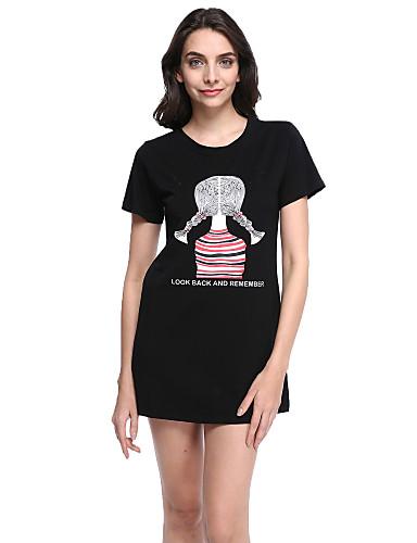 Damen Druck Übergröße / Niedlich Lässig/Alltäglich T-shirt,Rundhalsausschnitt Sommer Kurzarm Weiß / Schwarz Baumwolle Dünn