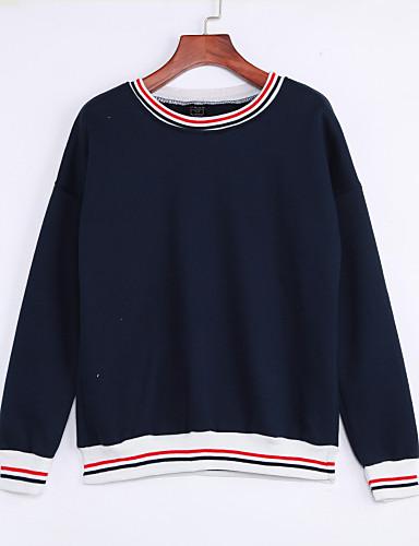 Dames Eenvoudig Casual/Dagelijks Sweatshirt Gestreept Ronde hals Fleece voering Inelastisch Katoen Lange mouw Winter