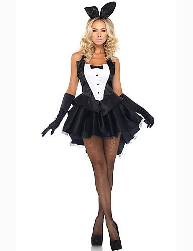 abordables Uniformes Sexy-Femme Fille Lapin Costumes de carrière Genre Costume de Cosplay Costume de Soirée Couleur Pleine Robe Gants Coiffure