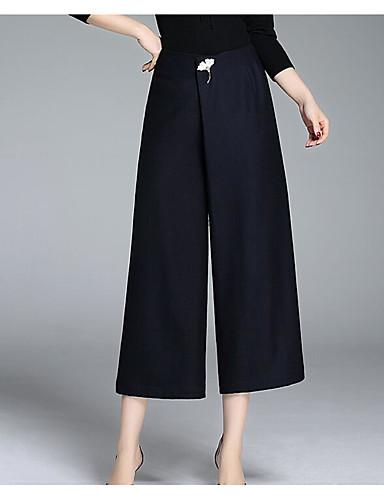 Damen Übergrössen Breites Bein Chinos Hose-Lässig/Alltäglich Einfach einfarbig Mittlere Hüfthöhe Reisverschluss Polyester Unelastisch