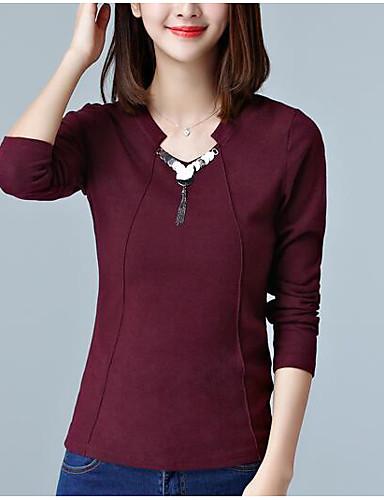 Damen Solide Einfach Lässig/Alltäglich Bluse,V-Ausschnitt Herbst Winter Langarm Rot Braun Gelb Baumwolle Mittel