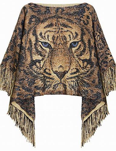 Damen Standard Mantel / Capes-Lässig/Alltäglich Retro Leopard Tierfell-Druck Bateau Langarm Acryl Winter Mittel Mikro-elastisch