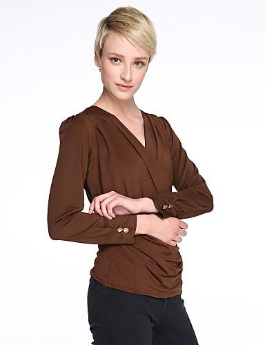 Damen Solide Übergrössen Bluse, V-Ausschnitt Gerüscht Polyester