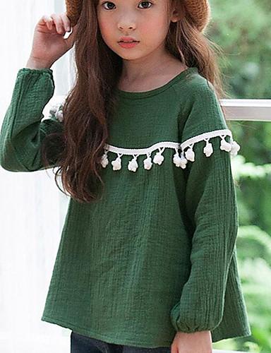 Mädchen Bluse Lässig/Alltäglich einfarbig Baumwolle Frühling Herbst