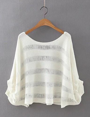 Damen Standard Pullover-Ausgehen Lässig/Alltäglich Einfach Street Schick Solide Rundhalsausschnitt Langarm Acryl Polyester Herbst Winter
