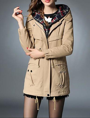 Damen Solide Einfach Lässig/Alltäglich Mantel Langarm Grün Kunstseide