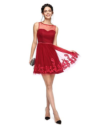 A-Linie Leger & Aufgebauscht Illusionsausschnitt Kurz / Mini Tüll Cocktailparty Abschlussball Abiball Kleid mit Applikationen Schleife(n)