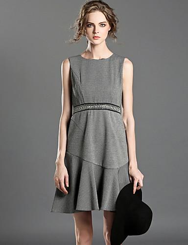 Damen A-Linie Kleid-Lässig/Alltäglich Einfach Schachbrett Rundhalsausschnitt Übers Knie Ärmellos Polyester Sommer Hohe Hüfthöhe