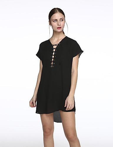 Naiset Löysä Mekko Yksinkertainen Rento/arki Plus-koko,Yhtenäinen V kaula-aukko Reisipituinen Lyhythihainen Polyesteri Kesä Korkea vyötärö