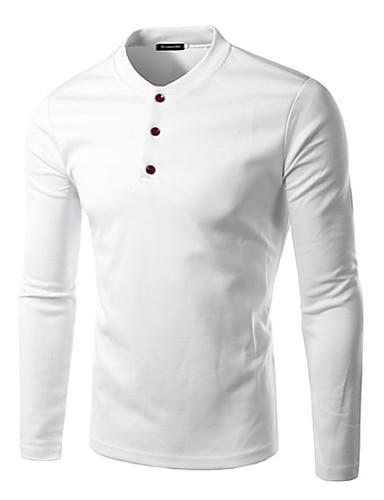 Herren Solide Einfach Lässig/Alltäglich T-shirt,Rundhalsausschnitt Frühling Herbst Langarm Baumwolle Undurchsichtig