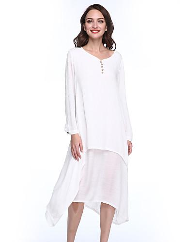 Mulheres Solto balanço Vestido - Camadas, Sólido