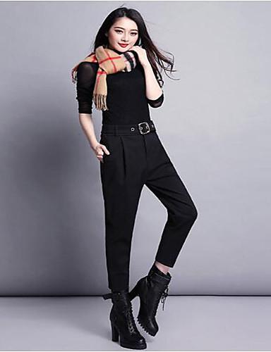 Naiset Yksinkertainen Mikroelastinen Chinos housut Housut,Leveä reisi Korkea vyötärö Yhtenäinen