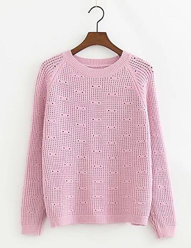 Damen Standard Pullover-Ausgehen Lässig/Alltäglich Einfach Street Schick Solide Rundhalsausschnitt Langarm Acryl Polyester ElasthanHerbst