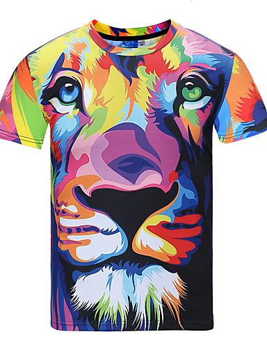 voordelige Heren T-shirts & tanktops-Heren Street chic / Punk & Gothic Print T-shirt Feest / Sport / Club dier Ronde hals Regenboog / Korte mouw / Lente / Zomer