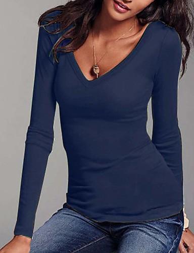 povoljno Ženske majice-Veći konfekcijski brojevi Majica s rukavima Žene Dnevno Jednobojni V izrez Zelen / Jesen / Zima