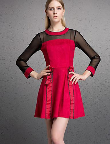 Damen Hülle Kleid-Lässig/Alltäglich Einfach Solide Rundhalsausschnitt Übers Knie ¾-Arm Polyester Herbst Winter Hohe Hüfthöhe