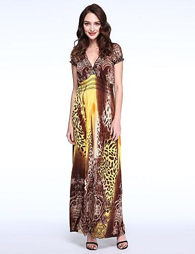 Femme Grandes Tailles Bohème Manche Papillon Balançoire Robe - Plissé Imprimé V Profond Maxi