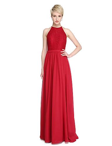 Funda / Columna Joya Hasta el Suelo Raso / Encaje Vestido de Dama de Honor con Encaje / Cinta / Lazo por LAN TING BRIDE®